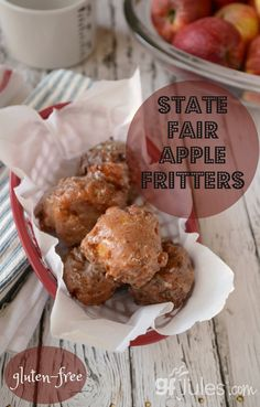 Gluten Free Apple Fritters Recipe - Gluten free recipes - gfJules - with the REAL Jules Gluten Free Baking, Gluten Free Desserts, Dairy Free Recipes, Gf Recipes, Fall Recipes, Gluten Free Donuts, Supper Recipes, Dessert Recipes, Sweets
