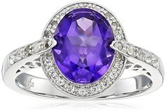 Sterling Silver African Amethyst and White Topaz Halo Ring Size 7 * Visit the image link more details. Note:It is affiliate link to Amazon.