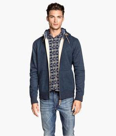 Zip-up hoodie in blue melange sweatshirt fabric, with lined drawstring hood, side pockets, and brushed inside. | H&M For Men
