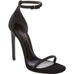 Saint Laurent Embellished Jane Sandals ($439) ❤ liked on Polyvore featuring shoes, sandals, heels, zapatos, black, stiletto sandals, ankle tie sandals, ankle strap heel sandals, black open toe sandals and open toe sandals