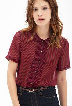 Ruffle Stripe Woven Shirt   FOREVER21 - 2000058499