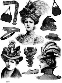 1899 Victorian Hats and Accessories