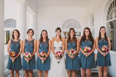 White, Wedding, Bridesmaids, Bride, Bouquets, Teal, Short, Gown, Dresses, Watters, Katelyn brad