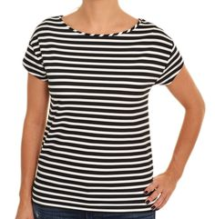Ann Taylor Thick Ponte Knit Top Medium Mariner Stripe Tshirt Heavy B&W Tee NEW #AnnTaylor #KnitTop #Casual