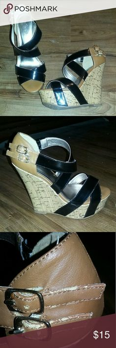 Qupid Cork Wedge Sandals Black and brown cork wedge sandals. Gently used. A little wear can be Sen on one of the buckles (shown in pic), but not really noticeable when wearing. Qupid  Shoes Platforms