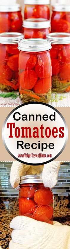 Canned Tomatoes Recipe. Canning, in general, feels very therapeutic and satisfying to me. From start to finish. And then you enjoy the fruit of your work in your accomplishment. Canned Tomato Recipes, Vegetable Recipes, Wow Recipe, Recipe Using, Frugal Meals, Easy Meals, Good Food, Yummy Food, Yummy Eats
