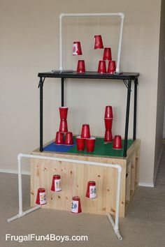 Plastic cups make awesome Nerf targets, and when the cups are swinging,  they'
