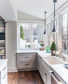 Circa Lighting Boston pendants near kitchen sink