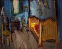 Carlos Bracher La chambre de Van Gogh - D'après Van Gogh - ost 1990 - 92 x 73 Situado França