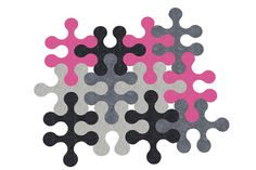"Felt carpet ""Molecule"" x12 grey Ecru anthracite Fuschia"
