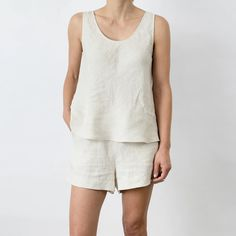 Linen Drawstring Pants, Linen Shorts, Summer Shorts Outfits, Fashion Forms, Neutral Outfit, Pajamas Women, Lounge Wear, Shirts, Sewing Ideas