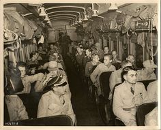 German Prisoners Of War In Boston  This is part of the processing undergone by POW's upon their arrival at the port of Boston, Mass. Here they are seen aboard a train which took them to their permanent POW camp.