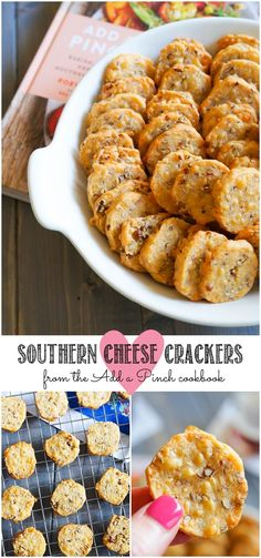 Southern Cheese Crackers + Add a Pinch Cookbook Southern Cheese Crackers recipe + Add a Pinch Cookbook Recipes Appetizers And Snacks, Savory Snacks, Yummy Appetizers, Snack Recipes, Cooking Recipes, Southern Appetizers, Detox Recipes, Desserts, Cheese Cracker Recipe