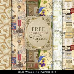 Freebies Kit of Vintage Wrapping Paper:Far Far Hill - Free database of digital illustrations and papers