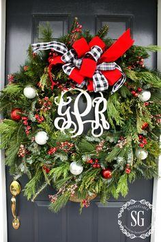 CREATIVE WAYS TO USE CHRISTMAS WREATHS-front door wreath-stonegableblog.com