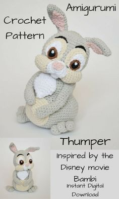 Thumper, which was inspired by the movie Bambi, is an adorable Amigurumi crochet doll that you can create by using this pattern. This pattern is an Instant Digital Download pattern so you can start gathering your supplies to make Thumper right away! #crochet #crochetdoll #amigurumi #ad #amigurumidoll #thumper #disney #bambi #instantdownload