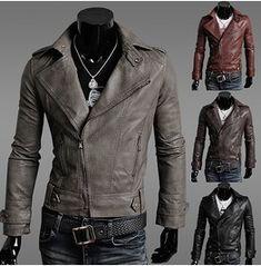 Leather Jacket Men's Gray Red Brown Black Leather Jacket Men