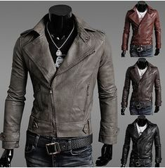 Leather Jacket Men's Gray Red Brown Black Leather Jacket Men