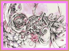 Calypso Mini organic pink flower surreal cross stitch pattern by UnconventionalX on Etsy