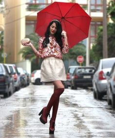 downtown/rain/red umbrella by LondaElle
