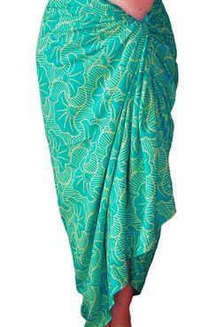 ce1379b4bd58f PLUS SIZE Sarong Women's Clothing ~ Beach Sarong Wrap Skirt Batik Pareo ~  Aqua Green & Cream Extra Long Sarong Skirt or Dress ~ Plus Skirt