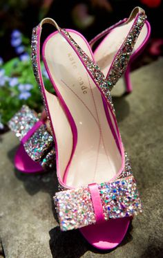 Hot pink Kate Spade open toe slingbacks with sequin bow.  Photography (www.belisephotography.com).  See more of Kelly's wedding - http://www.canadianbride.com/articles/kelly-hayles--david-phelan
