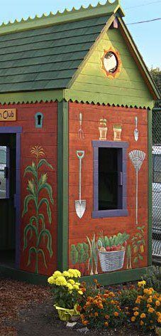 garden shed... paint with whimsical design