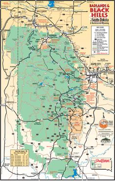 Mount Rushmore South Dakota Map   Black Hills area map (533k jpeg).