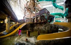 Come explore our Bay in Medusa's Indoor Water Park. It's complete with a pirate ship, water slides, waterspouts and geysers! | Mt. Olympus Water & Theme Park Resort | Wisconsin Dells, WI |
