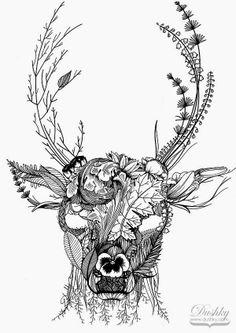 floral deer illustration by dushky