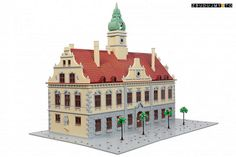 """Przemysław Czarnik built """"Osterode Rathaus"""", a former town hall in Osterode, Germany. The model does a wonderful jobs of utilizing tiles and jumper plates around the windows. I also app…"""