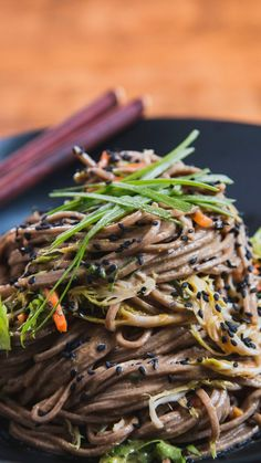 Check out this video tutorial for a gluten-free noodle bowl, loaded with lettuce, carrots and scallions. Don't forget the scrumptious homemade sauce!   Soba Noodle Salad, featured on Tastemade