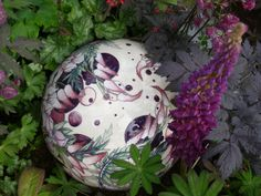 Darker shades of purple in this shot of the Moocroft globe are picked up by the surrounding planting.