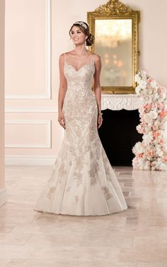 Fit and Flare Wedding Dress with Illusion Neckline - Stella York