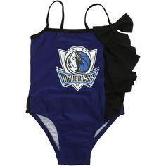 Dallas Mavericks Miss Fanatic Girls Toddler All Dolled Up Ruffle One-Piece Bathing Suit - Royal Blue - $31.99