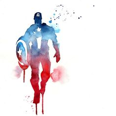 Blule - Watercolour painting of Captain America Superhero, Avengers. Marvel Dc Comics, Ms Marvel, Bd Comics, Marvel Art, Marvel Heroes, Captain Marvel, Captain America Poster, Capt America, Captain America Tattoo