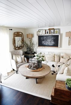 Downstairs Living Room Makeover: Update March 2016 - Cozy Neutral Farmhouse Style Living Room - With Ikea Ektorp Sectional. Cozy cottage style vibe makeover progress with source list of everything in the room - Great pin for neutral cozy home decor! Cozy Living Rooms, Home And Living, Living Room Decor, Modern Living, Cottage Style Living Room, Barn Living, Luxury Living, Country Living, Small Living Room Furniture
