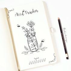 Monthly Mood Tracker PRINTABLE / Bullet Journal Insert / Leaves and Flowers Tracker / 31 days