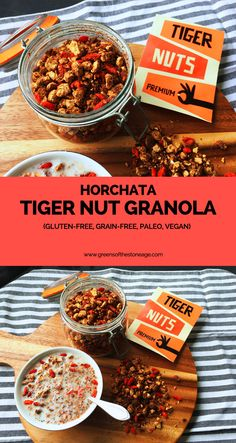 This Tiger Nut Granola is a grain and gluten free granola that takes its inspiration from the classic Mexican drink horchata. Flavours of almond, cinnamon, and vanilla will transport your taste buds to another dimension.