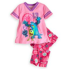 NWT Girls Monsters University Mike and Sulley Sleep Set - Size 4