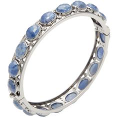 Bavna Women's Sterling Silver, Blue Sapphire & 0.83 Total Ct. ($975) ❤ liked on Polyvore featuring jewelry, bracelets, blue, hinged bangle, champagne diamond jewelry, sterling silver bangle bracelet, diamond bracelet bangle and diamond bangles
