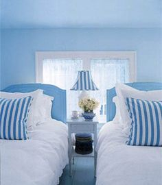 Decorating a Blue and White Bedroom with Between Naps on the Porch