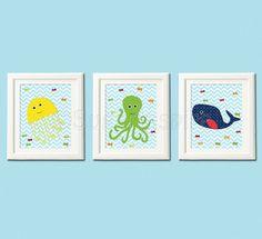 navy nursery art Print 8x10 Kids Room Decor whale by SugarInspire