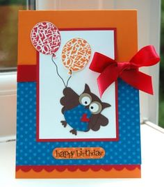Male Owl Birthday Card by Julie Kettlewell