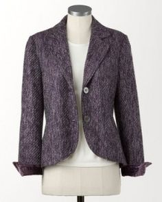 Dress your body type: If you have a large bust, choose jackets with plenty of structure, like this Velvet Touch Tweed Jacket from Coldwater Creek.