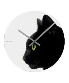 White & Black Furry Friend Wall Clock