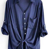 Navy Revere Collar Three Quarter Length Sleeve Pocket Shirt - Sheinside.com