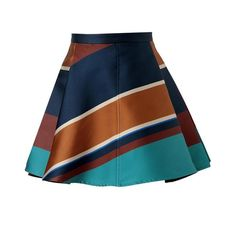 OSTWALD HELGASON Striped Silk-Blend Pleated Skirt ($600) ❤ liked on Polyvore