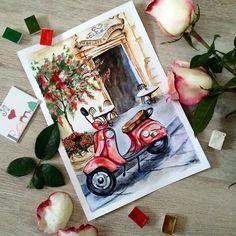 - are my favorite and the most tasty colors  #акварель #акварельназаказ #рисунок #рисунокакварелью #рисунокназаказ #vespa #vespamania #rome #roma #italy #trip #путешествие #италия #пейзаж #городскойпейзаж #watercolours #watercolorart #waterblog #aquarelle #яхудожникятаквижу #яумамыхудожник #безфильтов #art #artist #dolceitaliano #painting #италияtravel #traveling #рим #римскиеканикулы by julia_besedina