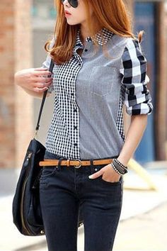 Grids Pattern Lapel Long Sleeve Blouse